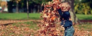 dijete se igra s lišćem